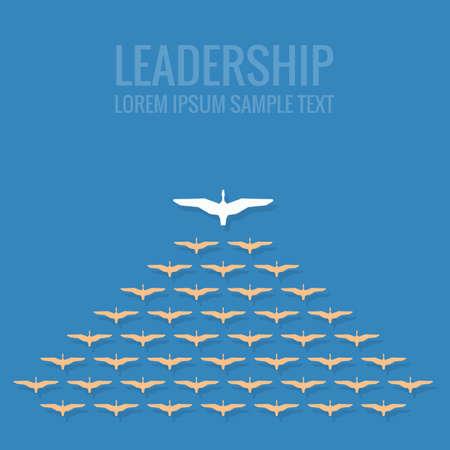 follow the leader: leiderschap concept plat ontwerp