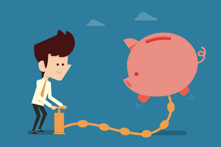 money pig: Happy businessman pumping money to pigy bank Illustration