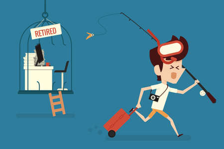 retirement: Happy businessman with Retirement concept