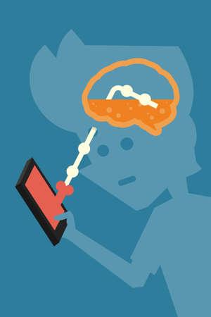 brainwash: brainwash concept with mobile phone