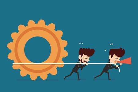 teamwork cartoon: teamwork concept flat design cartoon