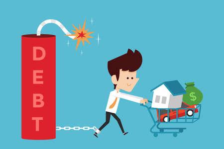 debt trap: debt concept cartoon, flat design