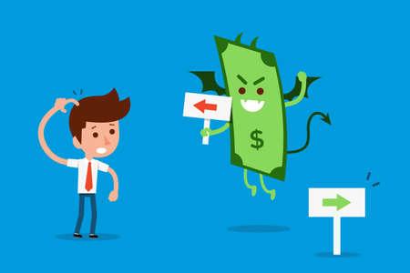 banknote: Bribe money devil, business concept cartoon. Illustration