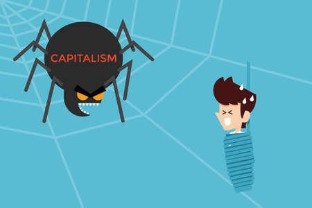capitalismo: capitalismo concepto de negocio de dibujos animados, dise�o plano. Vectores