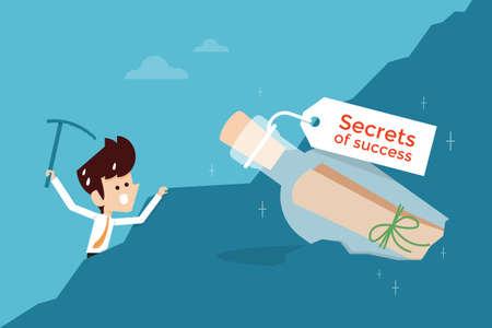 Erfolg: Geheimnis des Erfolgs flaches Design Geschäftskonzept