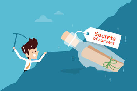 success: secret of success flat design business concept