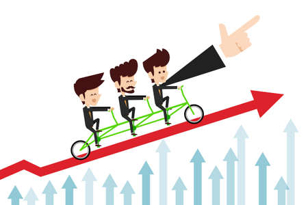 growth rate: Business man command  arrow Illustration
