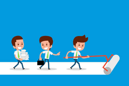 teamwork cartoon: Teamwork concept business cartoon, vector.