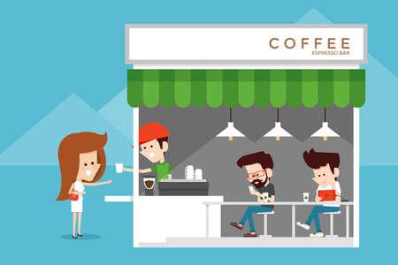 mujer tomando cafe: Cafeter�a dise�o plano