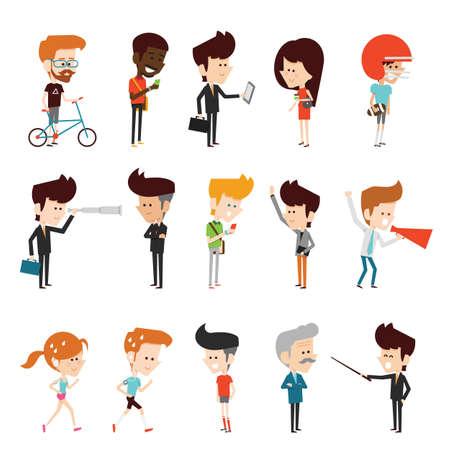 nene y nena: personajes de dibujos animados diseñar plana Vectores