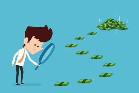 Businessman searching money flat design, vector.
