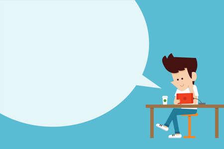 seated man: Hombre que usa la tableta diseño plano de dibujos animados.
