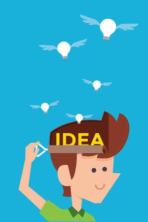 releasing: man releasing idea bulb flat cartoon design