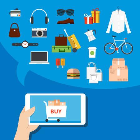 phone hand: Mobile marketing flat design, icons.