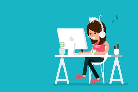 幸せな女は、コンピューター、フラットなデザインの漫画に取り組んでいます。  イラスト・ベクター素材