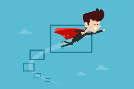 obstacles: Businessman flying through Obstacles , flat design