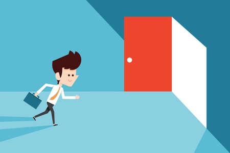 Businessman running to opened door.