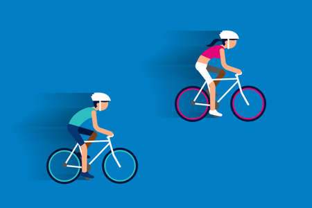 strong women: Couple riding bicycles flat design.