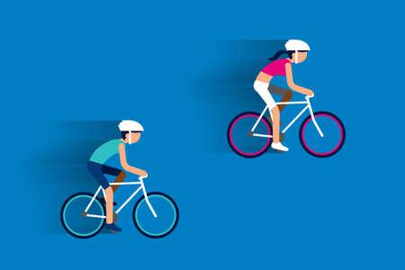 enamorados caricatura: Pareja montar bicicletas dise�o plano.