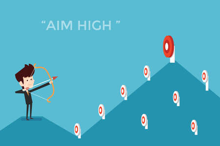 Aim high concept, flat designs cartoon Illustration