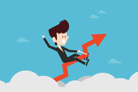 escape plan: Happy Businessman riding success graph