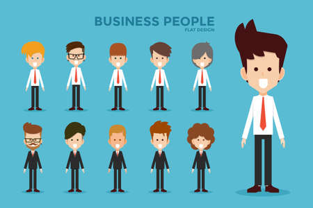 young men: Business people flat design, vector.