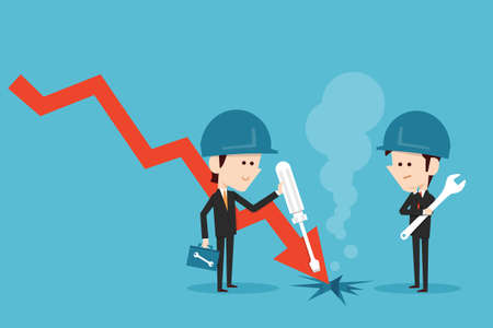 fixing: Businessman fixing stock graph, vector. Illustration