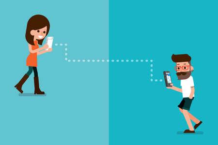 persona caminando: Sportman y usuario del smartphone de dibujos animados flatdesign.