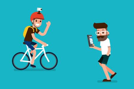 searching: Sportman and smartphone user flatdesign cartoon.