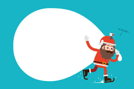 new ideas: Santa claus hipster with copy space on bag