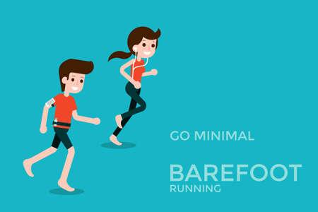 fitness woman: Barefoot running cartoon flat design.