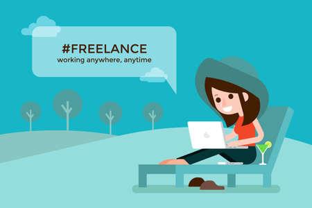 Freelance girl on beach chair, flat design cartoon. Vectores