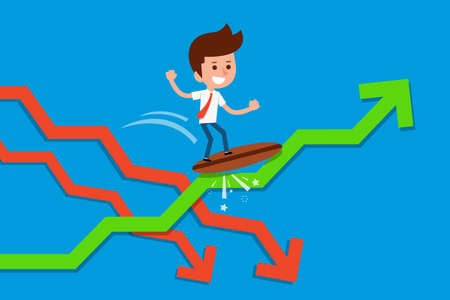 tidal wave: Businessman surfing on green arrow graph. Illustration