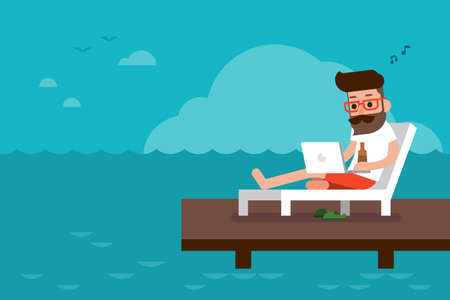 Freelance on the beach flat design cartoon.