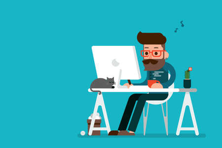 escritorio: Hombre feliz que trabaja en historieta ordenador.
