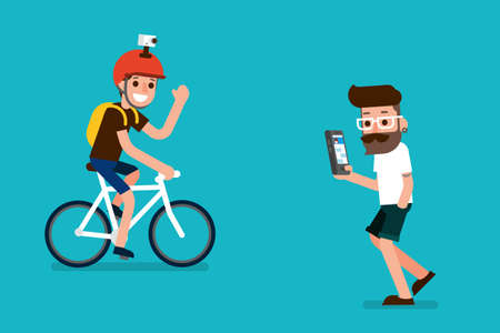 people   lifestyle: Sportman and smartphone user flatdesign cartoon.