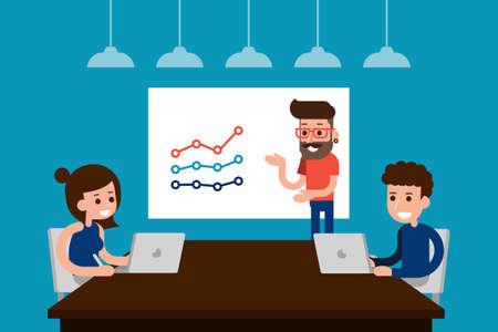 Mensen in vrijetijdskleding bespreken in de vergaderzaal. Stock Illustratie