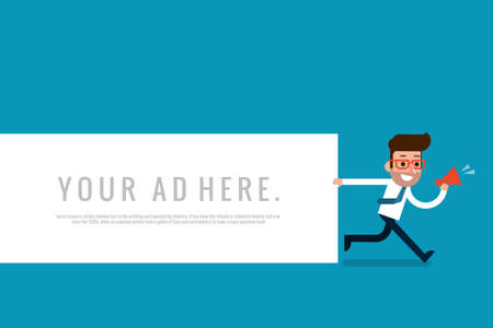 attention: Businessman holding blank notes, flat design.