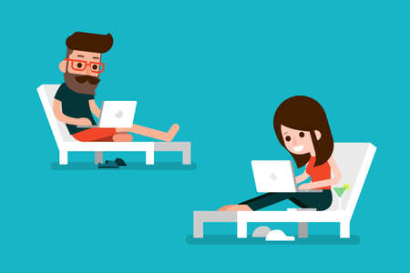 Man and woman working on computer. Stock Vector - 59723682