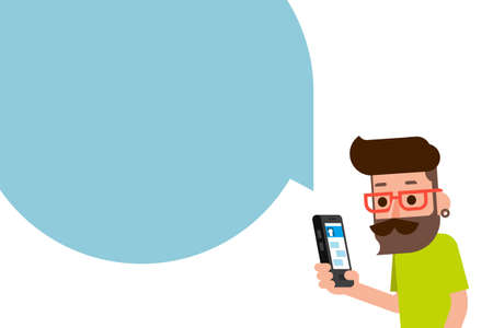using smartphone: Man using smartphone flatdesign cartoon.