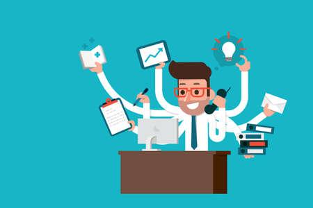 computadora caricatura: Hombre de negocios con habilidades multitarea, estilo plano.