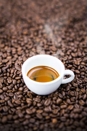 Espresso coffee cup top view vertical.