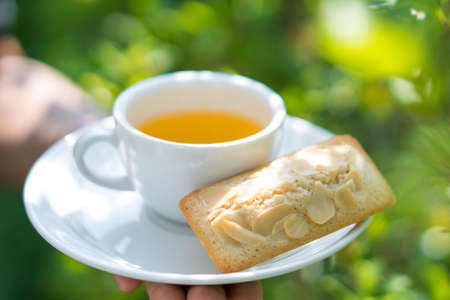 Tea cup with Financier cake. Stock Photo