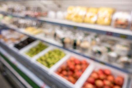 Defocused of vegetables in supermarket for background. Stock Photo