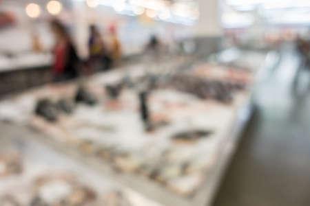 Defocused of fish in supermarket for background.