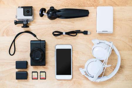 Photographer-blogger-traveller equipment top view. Stock Photo