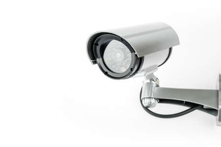 CCTV camera isolated on white background. Banque d'images