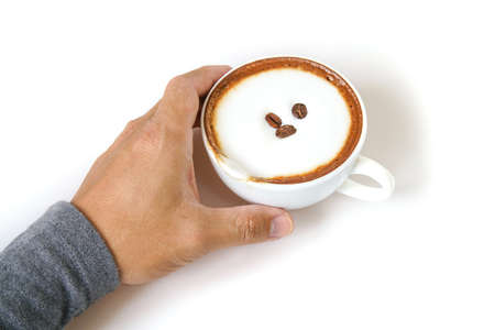 Hand drinking Coffee on white background.