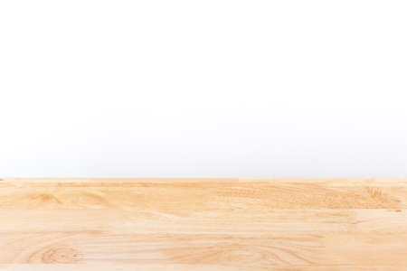 wooden table and white background with copy space.