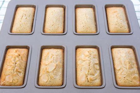 Financier cake in tray. Stock Photo